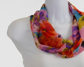 Sheer Floral  Infinity Scarf Soft Tangerine, Yellow and Purple ~ SH191-S5