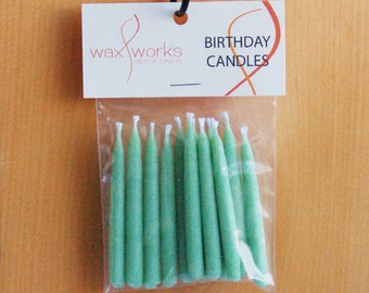 Set of 12 Light Green Soy Birthday Candles
