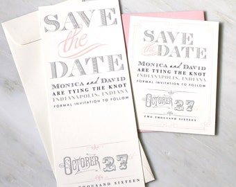 "Pink Save the Dates, Wedding Save the Dates, Gray, Ivory and Pink, Unique Save the Dates - ""Whimsy Elegance"" Save the Dates"