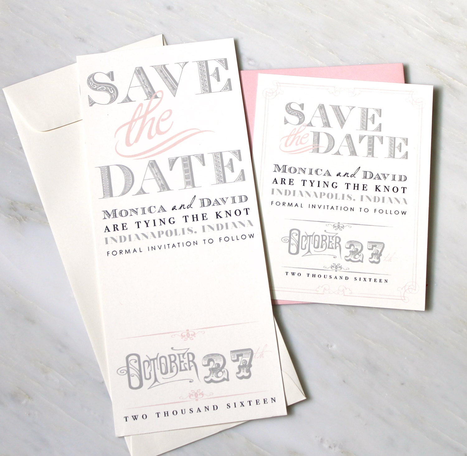 Pink Save The Dates Wedding Save The Dates Gray Ivory And
