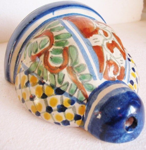 Items similar to Vintage Mexican Mexico Pottery Wall Vase Pocket Sconce Hanging Colorful Floral ...
