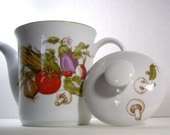 Thanksgiving Harvest Rosenthal Netter Japan Vintage Tea Coffee Chocolate Pot Vegtable Motif 1982