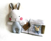 """Baby blanket and rag doll bunny rabbit set of two 2 stuffed toy plushie softie soft toy brown blue white 31 cm 12"""""""