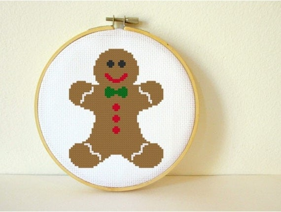 Counted Cross stitch Pattern PDF. Instant download. Gingerbread Man ...