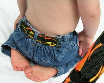 "Toddler Belt - Elastic Snap Belt - ""Hot Wheel Flames"""