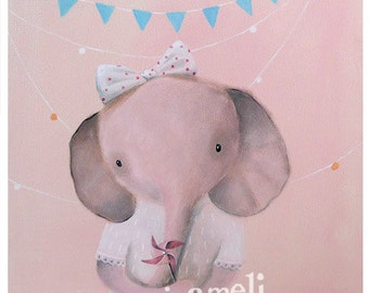 Children's Wall Art, Nursery Art, Art for Playroom, Playroom Decor, Nursery decor, Elephant Art, Unique Nursery Decor, Pink Girl Elephant