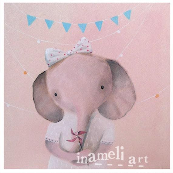 Children's Wall Art, Nursery Art, Art for Playroom, Playroom Decor, Nursery decor, Elephant Art, Unique Nursery Decor