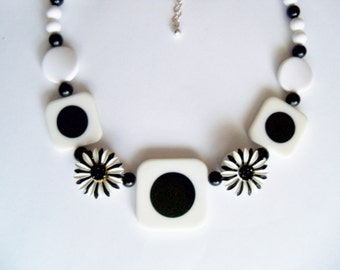 Necklace Black White Plastic Gift Guide Women Vintage Jewelry Jewellery Restyled Assemblage Kitsch Avant Garde