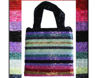 Beaded Handbag Purse Beaded Designer Valerie Stevens Black Red Green Pink Green Seed beads