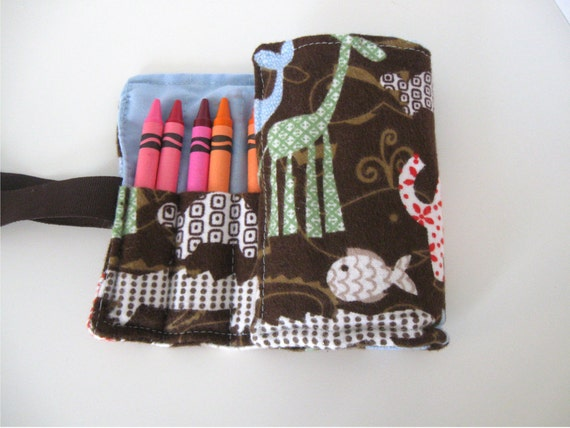 CLEARANCE SALE Crayon Roll with 16 Crayons Animal Print Ready to Ship Free US Shipping