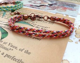 Summer woven kumihimo friendship bracelet