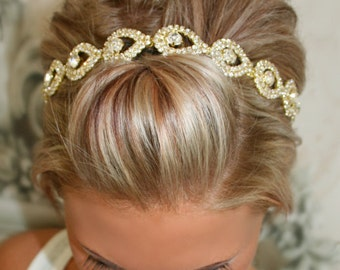 Bridal Hair Piece, GOLD Elsie, Wedding Headband, Ribbon, Wedding Headpiece, Gold, Bridal Accessory