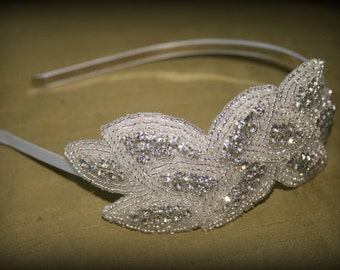 Beaded Crystal Headband - Woven Leaf Design in Silver