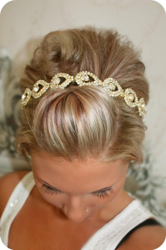 bridal hair piece gold elsie wedding headband ribbon
