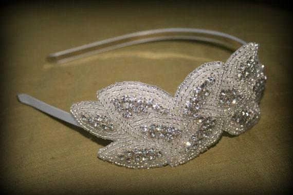 Beaded Crystal Headband - Woven Leaf Design in Silver