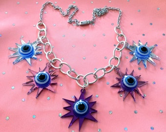 Colorful Evil Eye Explosion Charm Necklace