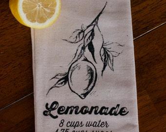 Tea Towel - Hand Printed Organic Flour Sack - Lemonade