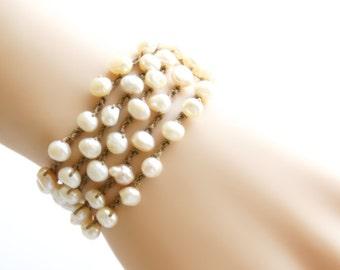 Pearl Crochet Wrap Bracelet Beach Bracelet Crochet Necklace Crochet Bracelet Freshwater Pearl Necklace Beach Wedding Jewelry Boho Bride Gift