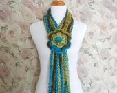 Crochet Lariat Flower Scarf   - Multicolored Teal Crochet Scarf - Ombre Teal, Yellow, Brown Scarf