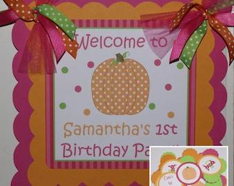 Polka Dot Pumpkin Welcome Door Sign by The Party Paper Fairy (PDPU-1)