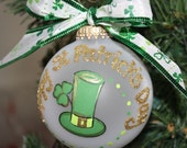 St Patricks Day Ornament Handpainted with a Leprechaun Hat and Shamrock