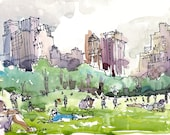 New York, Central Park watercolor sketch, Sheep Meadow a watercolor sketch in grey and green - archival art print