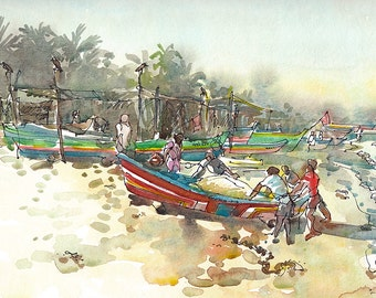 India sketch Fishing Boats at dawn, fine art print from a watercolor sketch