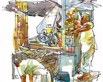 India sketch Street Food Sugarcane Juice Stall, Mumbai India 8x10 print from a watercolor sketch