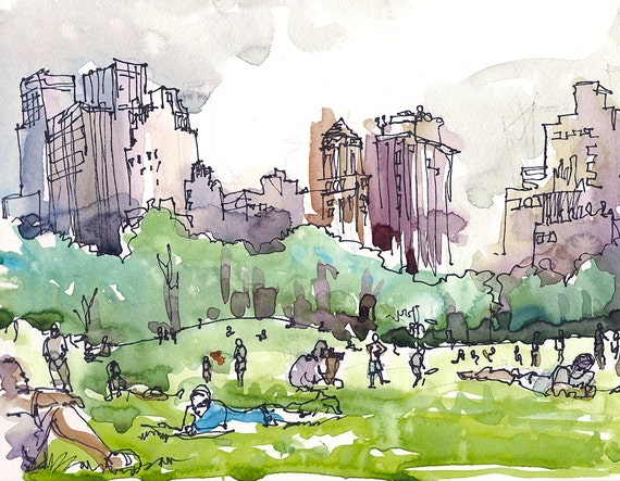 New York Central Park Watercolor Sketch Sheep Meadow A
