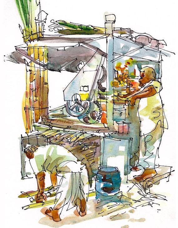 India Sketch Street Food Sugarcane Juice Stall Mumbai India