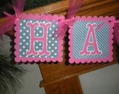 Happy Birthday Banner,  30th 40th 50th Birthday Banner, Navy Blue Hot pink Birthday decor,  Matching Tissue Pom Poms Available