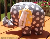 Plush Fabric Elephant in grey and white polkadot brother sister fabric and Falling Flowers in Yellow peacock Lane