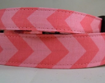 Dog Collar, Martingale Collar, Cat Collar - All Sizes  - Pink Chevron