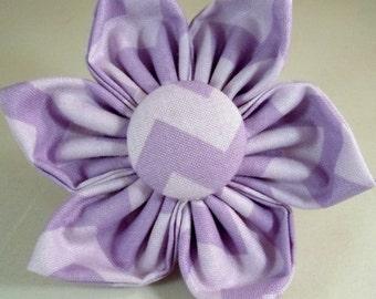Dog Flower, Dog Bow Tie, Cat Flower, Cat Bow Tie - Purple Chevron