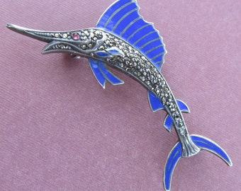 Swordfish Brooch Sterling Silver Enamal Marcasite Antique Pin By Uncas Manufacturing Circa 1940 s
