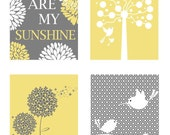 Yellow and gray Art, Nursery Quad - Four Coordinating 8 x 10 Prints - Yellow and Gray - Mommy and Me, You are my Sunshine, Tree Dot, Dan
