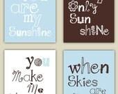 You Are My Sunshine Art // Brown and Blue Nursery Decor // Baby Boy Shower Gift // Boy Nursery Wall Art // Boy Nursery Decor //4-8x10 PRINTS