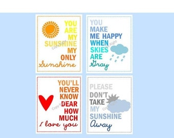 "Wall art for kids // Colorful Nursery Decor // You are my sunshine prints // Rainbow Nursery Art // Set of Four 11x14"" PRINTS ONLY"