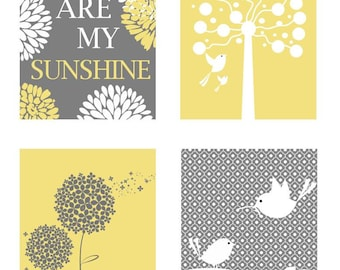 Yellow and Gray Nursery Decor // You Are My Sunshine Art // Yellow Gray Wall Art // Neutral Nursery Art // Yellow Gray Art 8x10 PRINTS ONLY