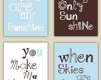 You Are My Sunshine Art // Brown and Blue Nursery Decor // Baby Boy Shower Gift // Boy Nursery Wall Art // Boy Nursery Decor //4-8x10 PRINTS