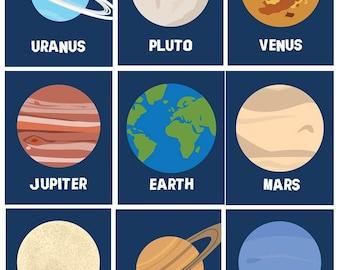 Solar System Art // Planets Wall Decor // Planets Art Prints // Solar System Nursery Decor // Spaceman Art // Ten Piece PRINTS ONLY