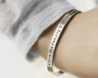 Personalized Cuff Bracelet in Sterling Silver , Personalized with your own words