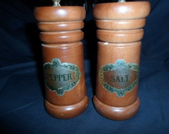 Vintage 1950s to 1960s Wood Salt and Pepper Shakers Japan Tall Wooden Simple