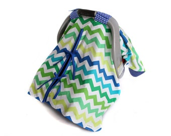 "Car Seat Canopy Cover with slit AND Nursing Veil! ""Chevron Surf"""