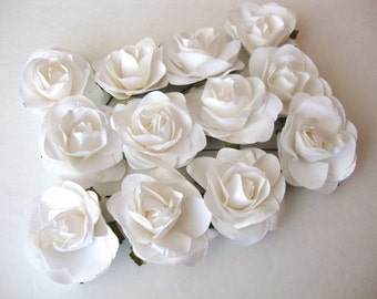 White Mulberry Paper Roses Flowers Large