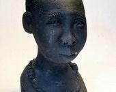 Reserved for Linday: Vintage African Terracotta Sculptural Bust Signed FLORA Tribal Studio Pottery Craft