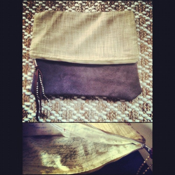 Leather and Tweed Oversized Clutch