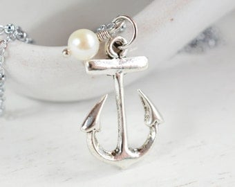 Anchor Necklace - Bridesmaids Necklaces, Bridesmaid Gift, Wedding Jewelry, Anchor Pendant, Fresh Water Pearl Necklace