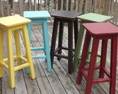 "Reclaimed /wood/ bar stool/ counter/ bar/ stool/ painted/ distressed/ colors/ 25"" to 30"" H"
