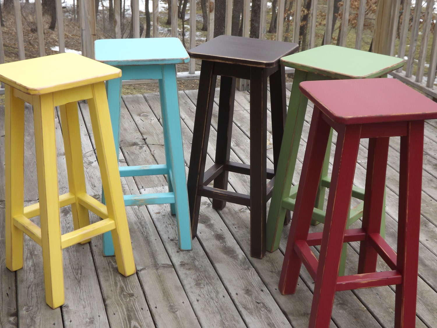 Reclaimed /wood/ bar stool/ counter/ bar/ stool/ painted/
